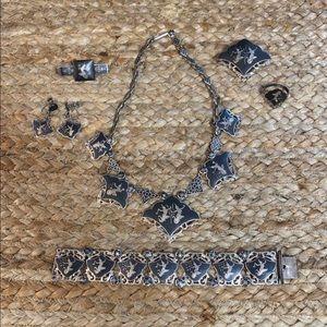 Vintage Sterling Silver Siam Niello Goddess Set